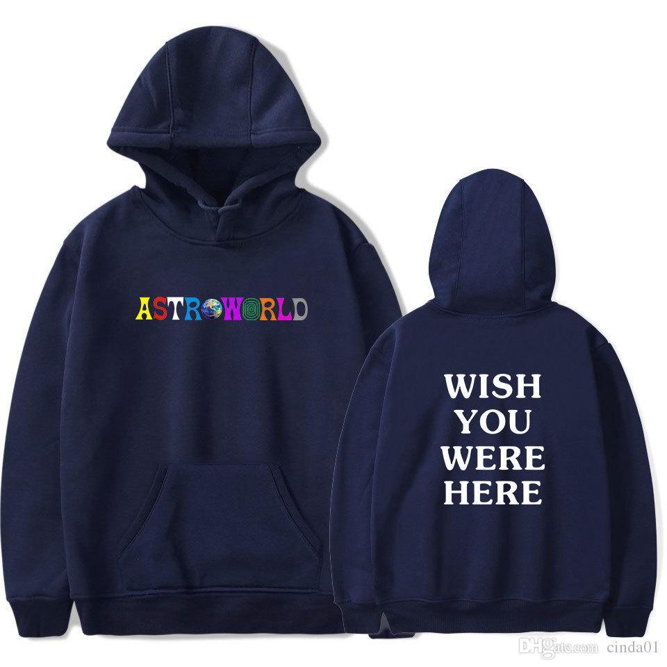 Astroworld Printed Mens Marke Designer Hoodies Hip Hop High Street Sweatshirt Dünne Elastische Beiläufige Männliche Pullover