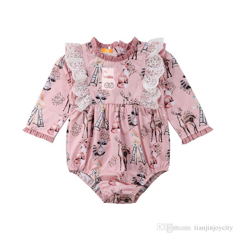 Meninas do bebê de Manga Longa Bodysuit Recém-nascidos Infantil Criança Crianças Rosa Fox Deer Lace Floral Jumpsuit Outfits Sunsuit Roupas Oufit