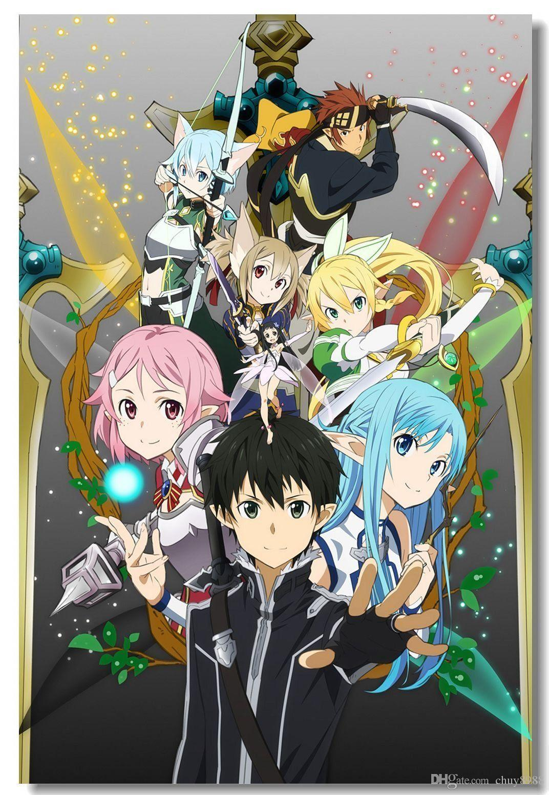 Sword Art Online 1 2 Kazuto SAO Sinon Asuna Boy Art Seda Poster 20x30 24x36 24x43