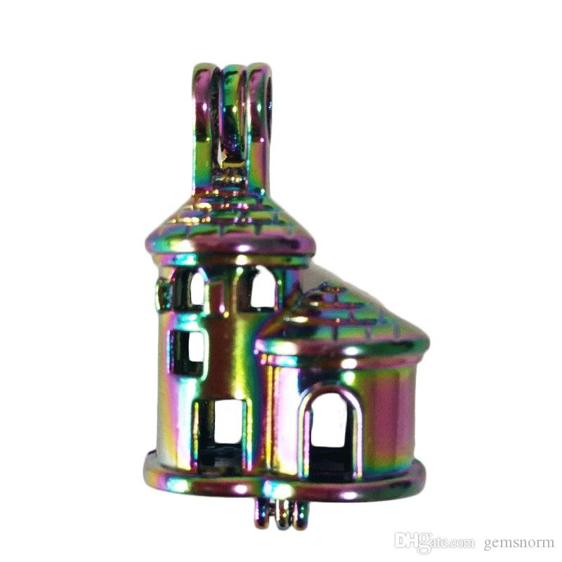 5pcs Rainbow Castle Oyster Pearl Bead Cages Pendant Essential Oil Diffuser Colorful Locket Jewelry Making Necklace C163
