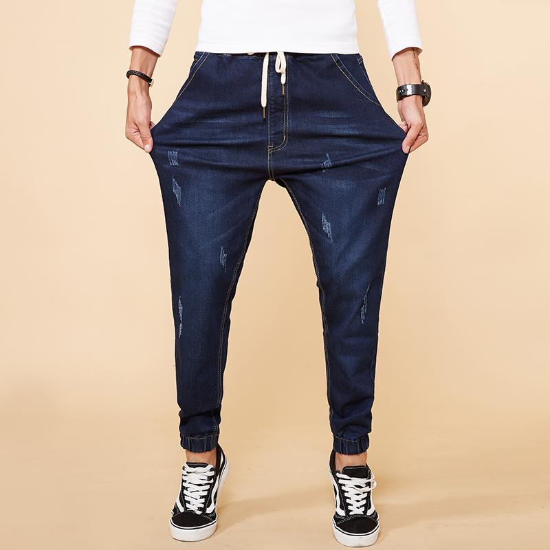 2018 Spring New Scratched Stretch Jeans Men Fashion Casual Denim Harem Pants Male Slim Fit Large Big Size M-7XL 8XL High Quality