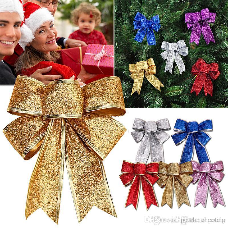 Red Bow Xmas Decor Golden Ornaments Bowknot Christmas Tree Decoration