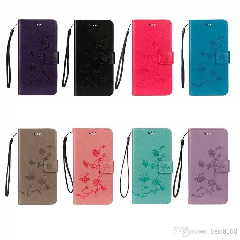 Odcisk Portfel Case Dla iPhone 12 2020 11 Pro Xr XS Max X 8 7 6 Galaxy Note 10 S10 Kwiat Skórzany Motyl Flip Cover Tree Sowa Luksus