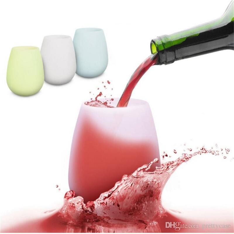 Silicone Wine Glasses 12oz Food Grade Silicone Red Wine Cup Unbreakable Beer Bottle Outdoor Sports Camping Portable Water Bottles