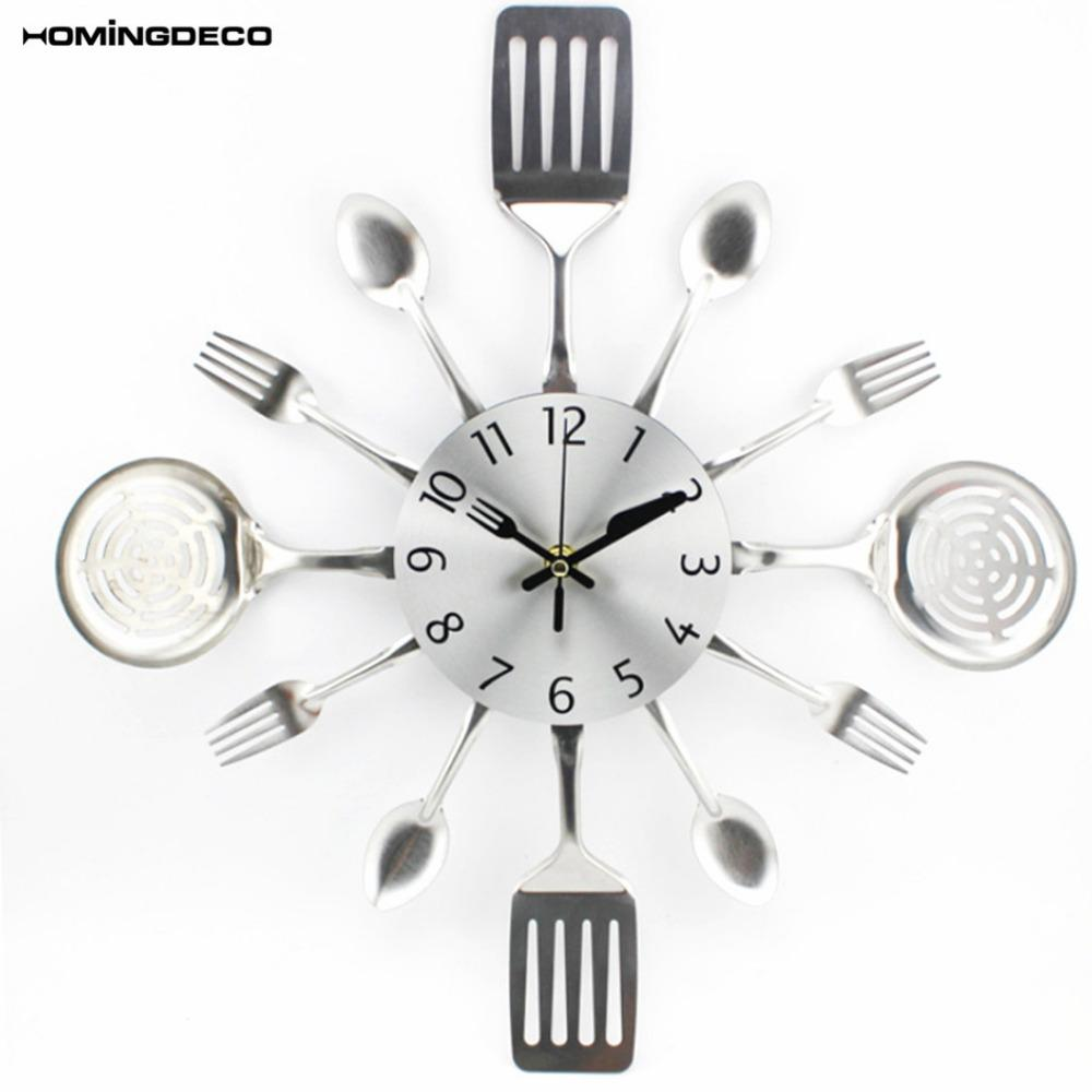 Homingdeco Kitchen Wall Clock 3D Unique Creative Mute Kitchen Utensils  Toned Forks Spoons Spatulas Wall Clock Gift Silver Red Wall Clocks Large ...