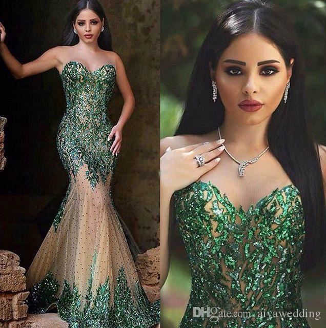 New Arabic Style Emerald Green Mermaid Evening Dresses Sexy Sheer Crew Neck Hand Sequins Elegant Said Mhamad Long Prom Gowns Free Shipping