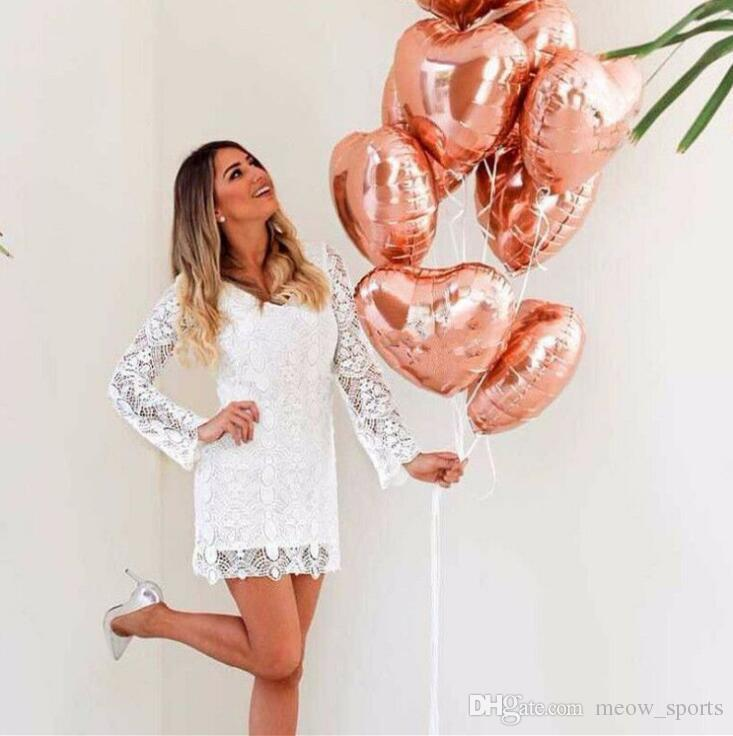 Balloons 18 inch heart shaped rose gold aluminum film balloons Rose Gold party decoration Wedding ceremony arrangement of wedding ceremony