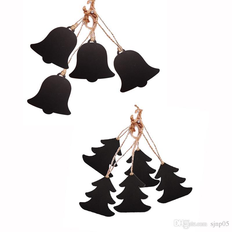 Ahşap Asılı Mini Kara Tahta Süsler Noel Ağacı Çorap Çan Şekli Ahşap Blackboard İşaretler Şarap Etiketleri Mesaj Panosu Noel Afiş Dekor