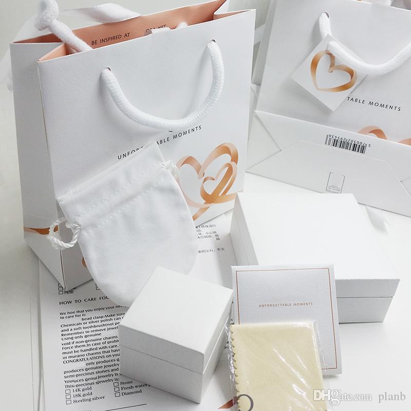 Süper Kalite Lover Kalpler Moda Takı Kutuları Pandora Charms Bilezik Gümüş Yüzük Orijinal kutusu Kadın Hediye çanta için ayarlanmış Paketleme