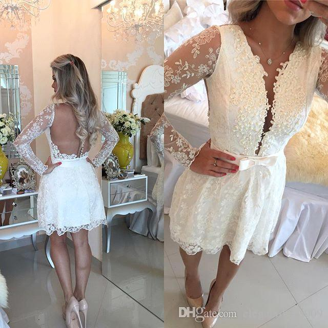 White Lace Long Sleeves Homecoming Dresses Deep V Neck Long Illusion Sleeves Lace Applique Pleats Cocktail Party Gown Graduation Dress Bow
