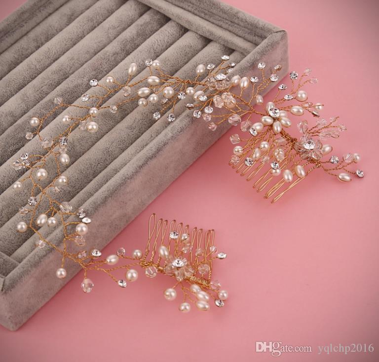 Classic handmade headband wedding bride with photo studio and makeup Wedding Crystal Double comb.