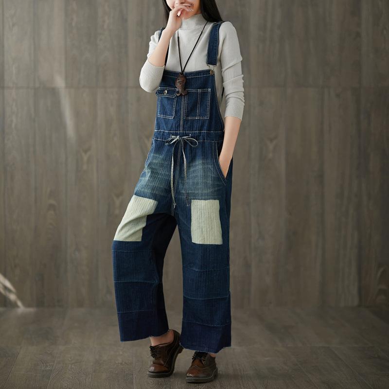 Повседневная плюс размер хлопок джинсовый комбинезон комбинезон Комбинезон для женщин Combinaison Femme широкие брюки Брюки отверстия высокой талией Джинсы женщина