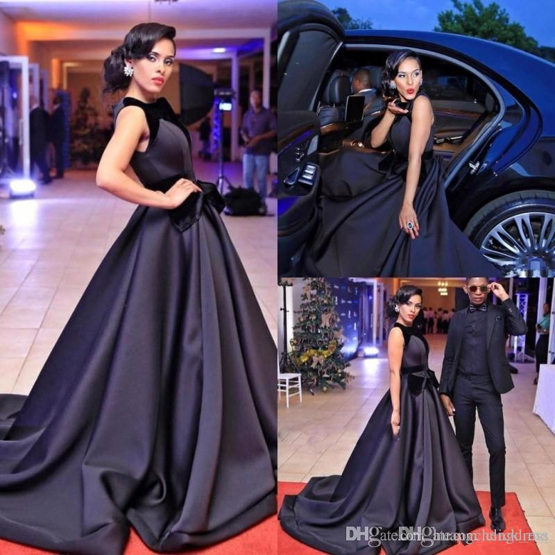Red Carpet Black Prom Dresses Long Satin And Velvet Jewel Celebrity Evening Gowns With Big Bow Elegant Cocktail Party Dress Cheap