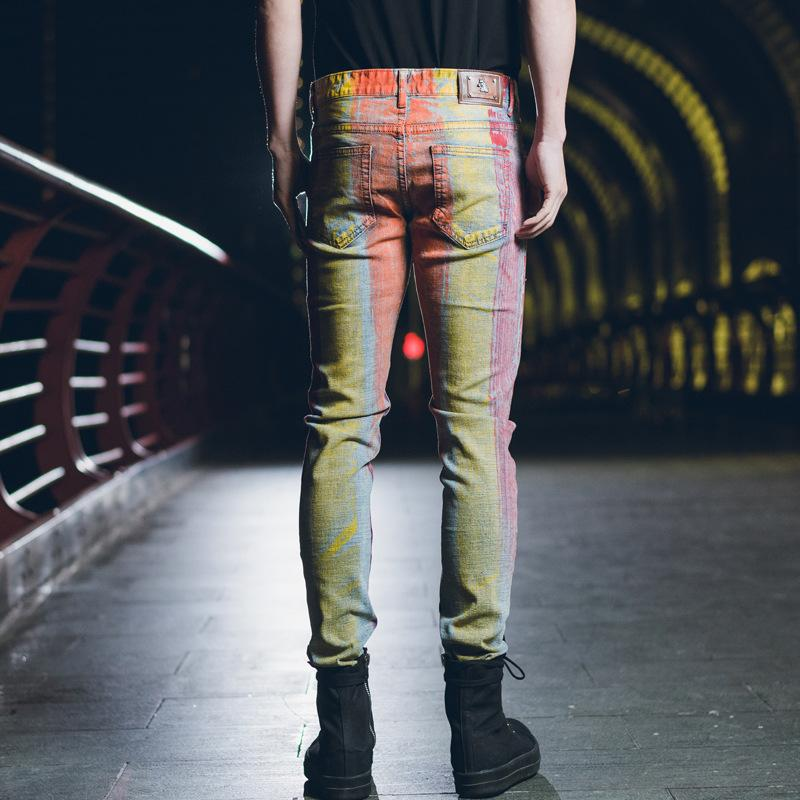 Acquista ORIENTERIA Taglia 28 40 Hip Hop Designer Stampato Jeans Uomo Fashion Brand Jeans 2018 Nuovi Pantaloni Skinny Uomo Full Length In Denim A
