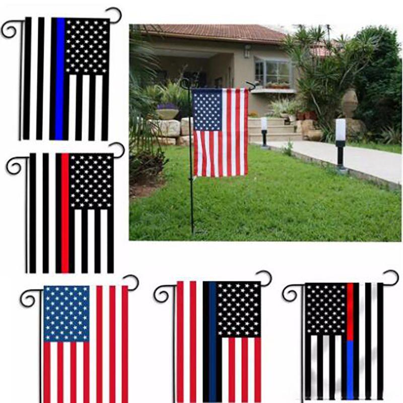 30 * 45CM أعلام BlueLine USA الشرطة الديكور الحزب رقيقة الخط الازرق USA العلم الأسود، الأبيض والأزرق الأمريكية العلم حديقة العلم 572