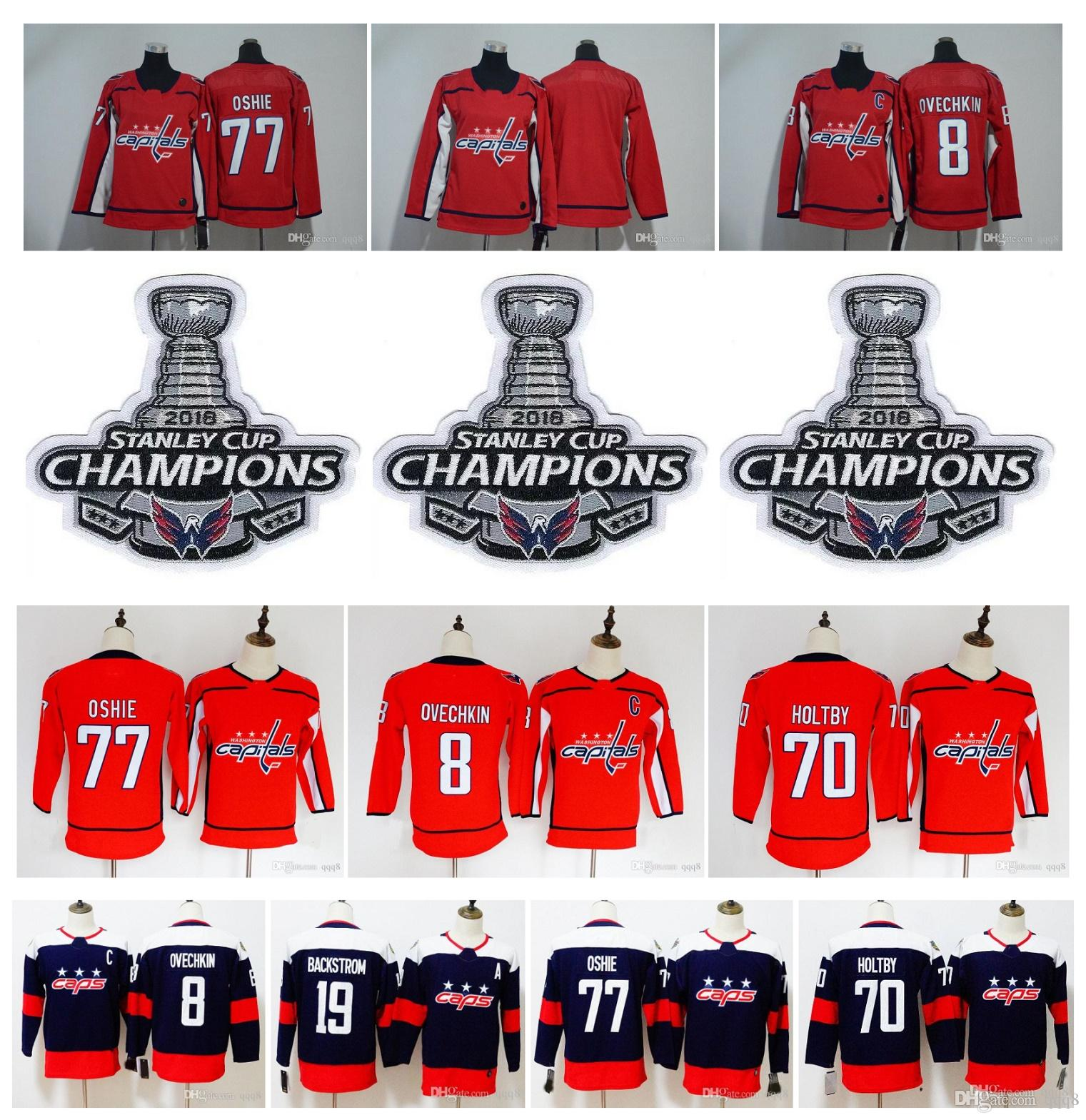 new styles a25f0 01131 2019 2018 Stanley Cup Champion Patch Kids Youth Washington Capitals Jersey  Alex Ovechkin TJ Oshie Braden Holtby Backstrom Wome Hockey Jersey From ...