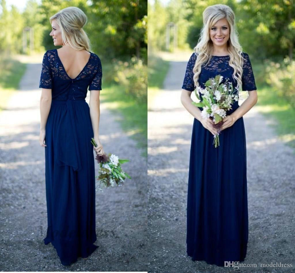Navy Blue Elegant Bridesmaid Dresses Lace Half Sleeves V Back Chiffon A Line Floor Length Sheer Neck Party Dresses for Wedding Guests