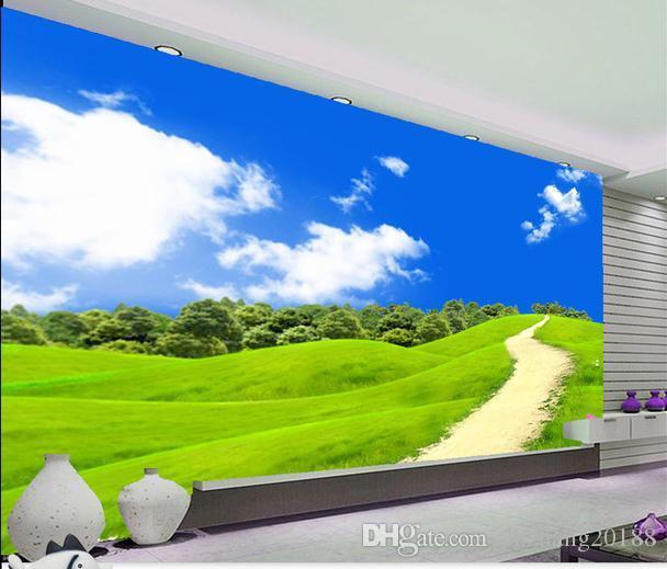 Cielo azul, nubes blancas, camino verde, fondos de pantalla de la pared, sala de estar moderna, fondos de pantalla