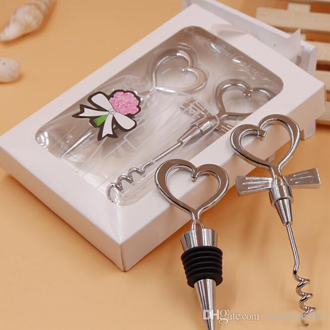 Party Return Gifts Heart Couple Great Combination wine bottle Favors and Stopper Sets bridal shower gifts wholesale