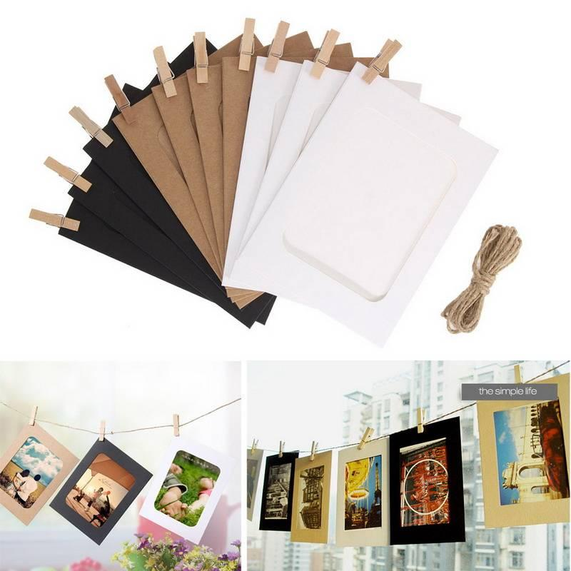 10pcs Combination Wall Photo Frame DIY Hanging Picture Album Party Wedding Decoration Paper Photo Frame with Rope Clips 3/4/5/6/7 Inch