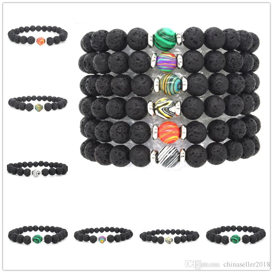 New 6 Color 8mm Malachite Stone Black Lava Beads Bracelet DIY Essential Oil Diffuser Bracelet Volcanic Rock Jewelry