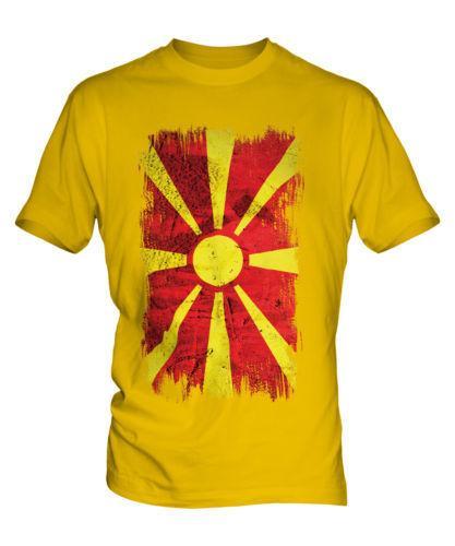 MACEDONIA GRUNGE FLAG MENS T-SHIRT TEE TOP MAKEDONIJA FOOTBALL MACEDONIAN SHIRT