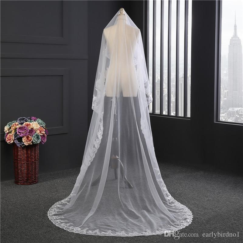 2019 nouveau 1T 3 m de long blanc / ivoire voiles de mariée de diable dentelle applique de bords de bords de la cathédrale longueur mariage mariée voile sans peigne CPA889