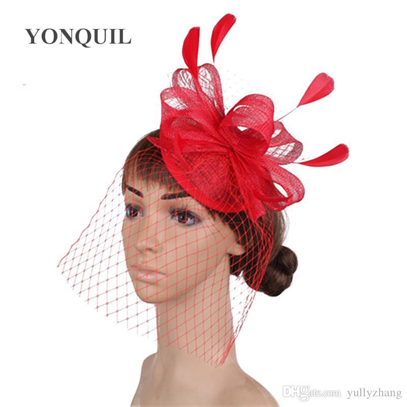 New Bridal wedding veils hats fascinator headbands women elegant sinamay headwear feathers party headpieces loops hair accessories SYF458
