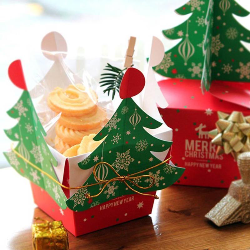 Al por mayor 50 PCS / árbol de Navidad Conjunto 3D Feliz Navidad del caramelo bolso de la caja Caja de regalo con las campanas y caja de papel Cuerdas