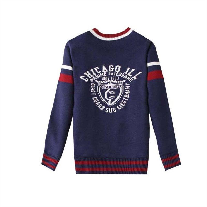 Compre Niños V Neck Textile Badge Sweater Patrón De Impresión Tejer ...