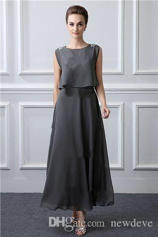 Grey Mother Of The Bride Dresses Plus Size Formal Gowns Evening Wear Ankle  Length Wedding Guest Dress Dresses For The Mother Of The Bride Mother Of ...