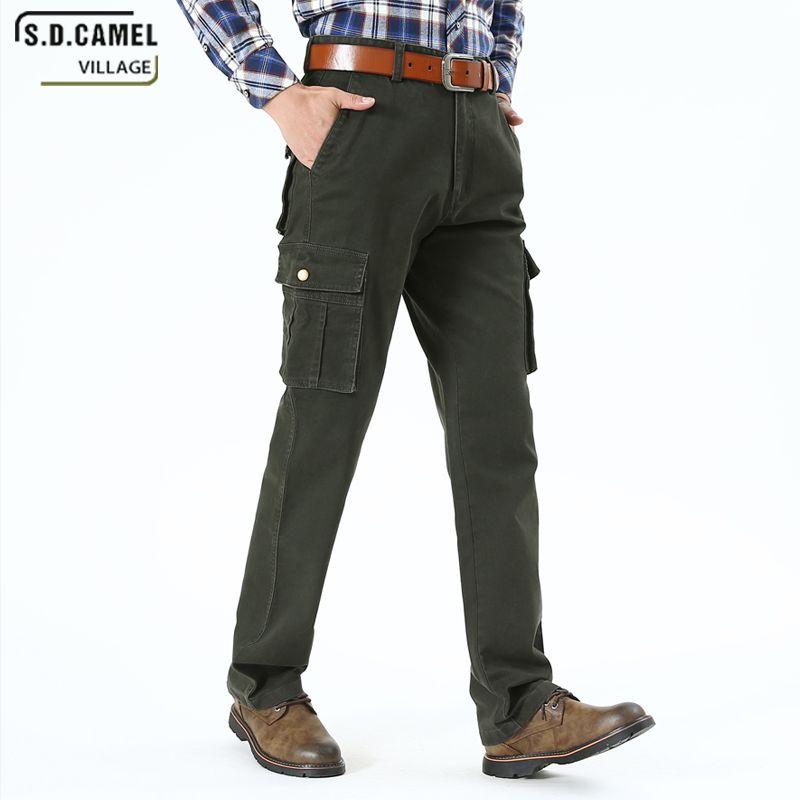 S.D.CAMEL Pocket Leisure Cargo Pants الرجال نمط بلون الموضة بنطلون البضائع عالية الجودة حجم 40 42