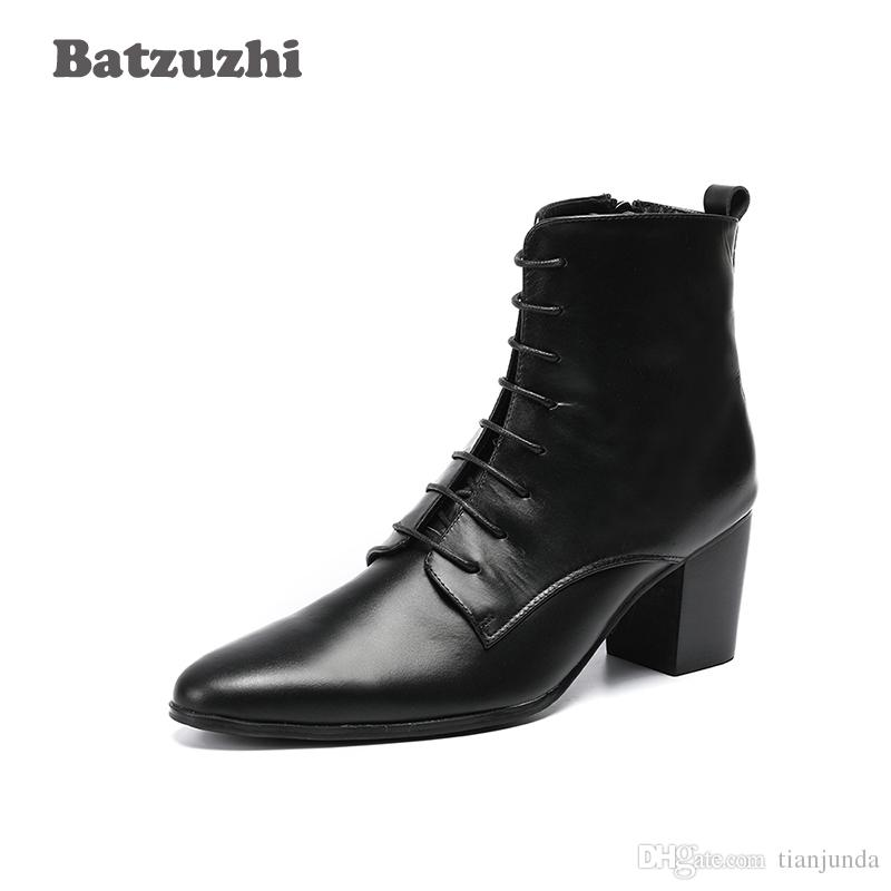 6.8cm High Heel Boots Men Black Genuine Leather Men\u0027S Ankle Boots Pointed  Toe Lace Up Bota Masculina Dress Boots Men! Big Sizes US6 US12 Boots For