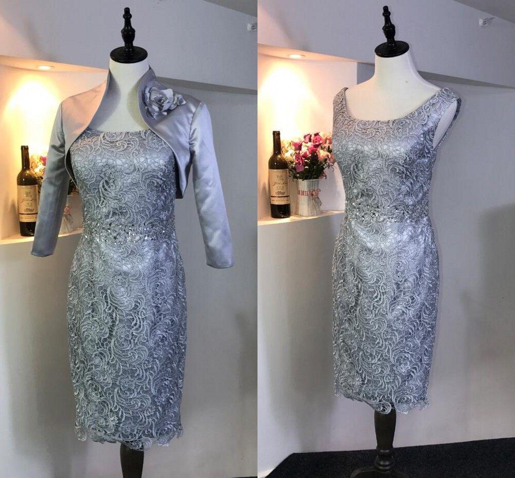 Sliver elegante 2018 mãe do noivo da noiva vestidos de duas peças jóia do pescoço do laço corpete na altura do joelho Barato Prom vestido de noite