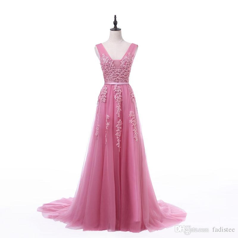 2021 Fadistee Neue Ankunft Party Abendkleider Vestidos de Fiesta A-line Abendkleid Spitze Perlen Robe de Soiree V-Ausschnitt Kleid mit Reißverschluss