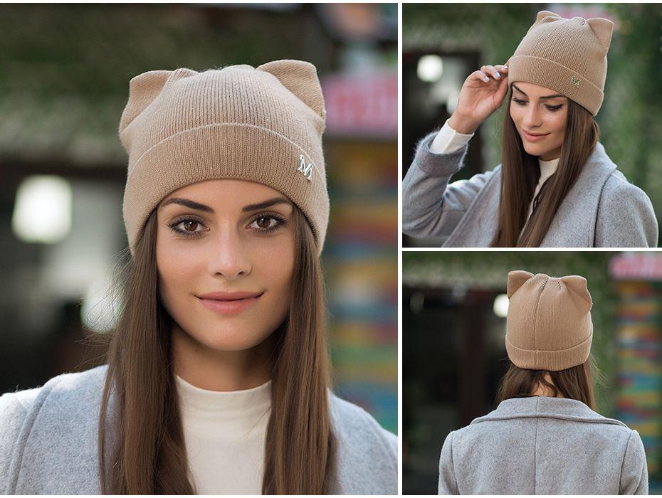 Fashion Knitted Hat Autumn Winter Hat Woolen Beanies Caps Women Cashmere Outdoor Warm Cap Lady Elasticity Cat Ears Wool Knit Beanie Hats