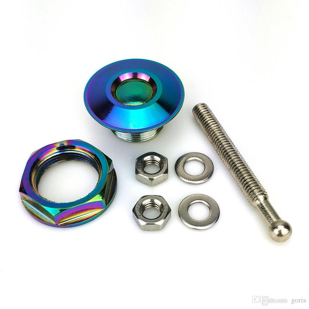 "Neo Chrome Push Button Billet Hood Pins Lock Clip Kit Car Quick Latch Universal Engine Bonnet For Nissan Toyota Kia 1.25"" 31.75mm Universal"