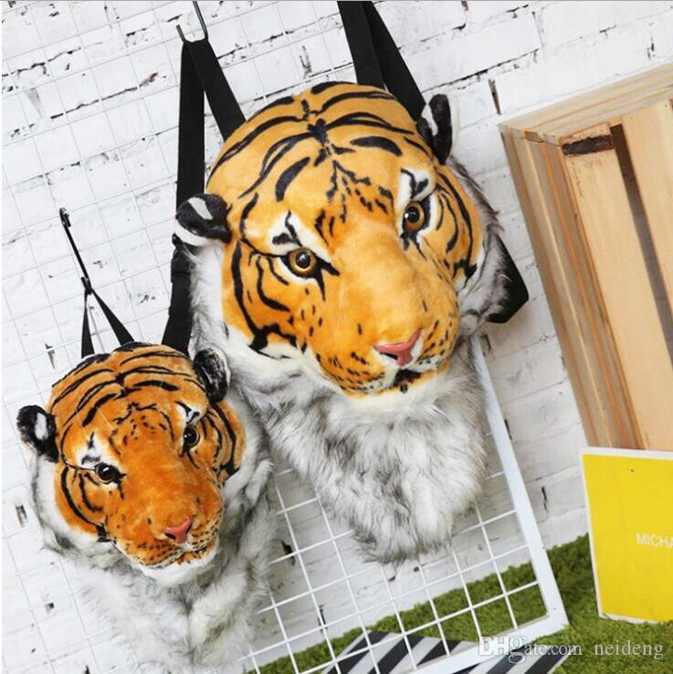 2018 3D Tiger Head Backpack Animal Cartoon Lion Tiger Borse Bianco Donna Uomo Casual Daypacks per viaggiare Bambini Borse Bolsas Vendita calda