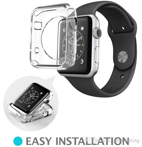 the latest fa3c6 245e7 2 IN 1 Apple Watch Series 3 / 2 Tempered Glass Screen Protector+IWatch Slim  Soft TPU Case Cover 38/42mm Iwatch Screen Films Best Iwatch Accessories ...