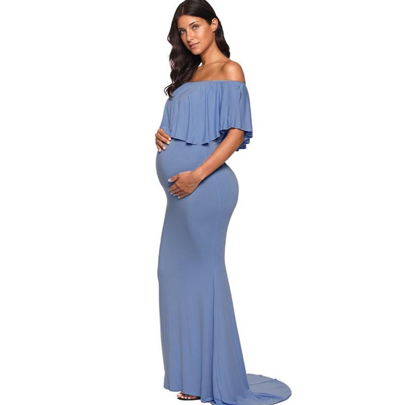 Compre Ruffles Maternity Maxi Vestidos Largos Para Sesión De Fotos Accesorios De Fotografía Ropa De Embarazo Vestido De Embarazo Ropa De Maternidad A