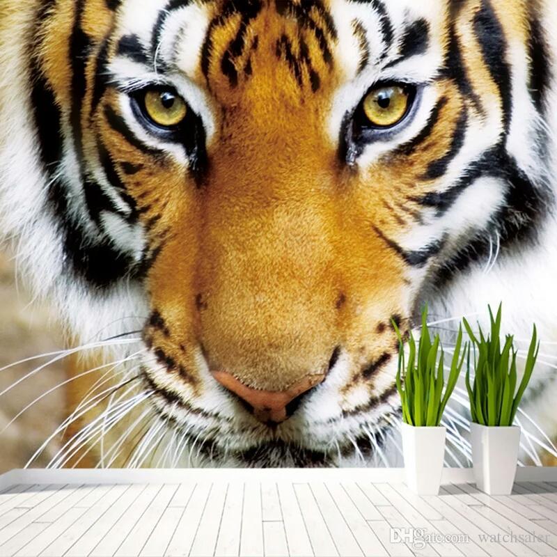 Carta da parati fotografica 3D personalizzata Tigre Animali Ristorante Cafe Soggiorno Camera da letto Divano Sfondo Carta da parati non tessuta 3D murales