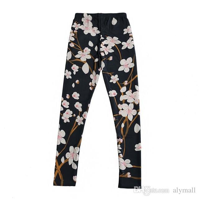 Pantalones elásticos elásticos 3D Impresión digital Patrón de melocotón negro Mujeres Leggings 7 tamaños Ropa de fitness Envío gratuito