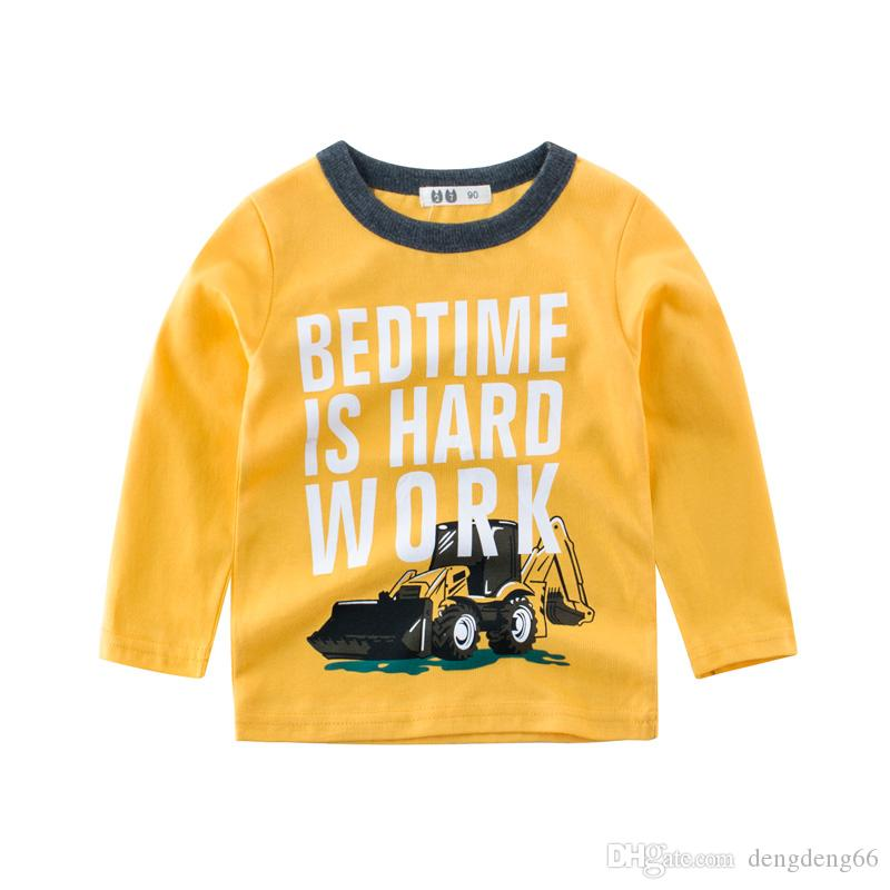 Kids Baby Boys Casual Cotton T-shirt Breathable Long Sleeve Tee Shirt Letter Car Printed Tee Tops Children's Clothing