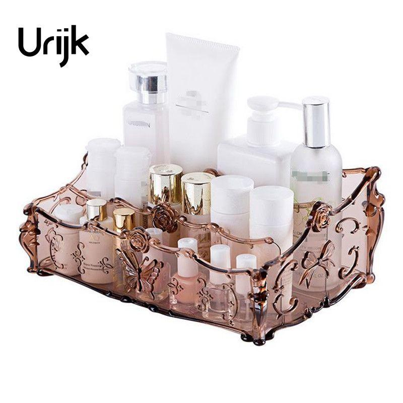 Urijk 1Pc Cosmetic Storage Box Table Jewelry Box Desktop Makeup Case Makeup Organizer Skin Care Lipstick Display Holder Bathroom
