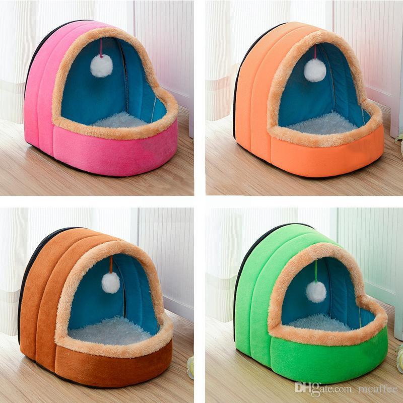 5 colori Pet Dog Cat Bed pieghevole Puppy House con Toy Ball caldo morbido Pet Cani di cane Kennel Cat Castle Fast Shpping