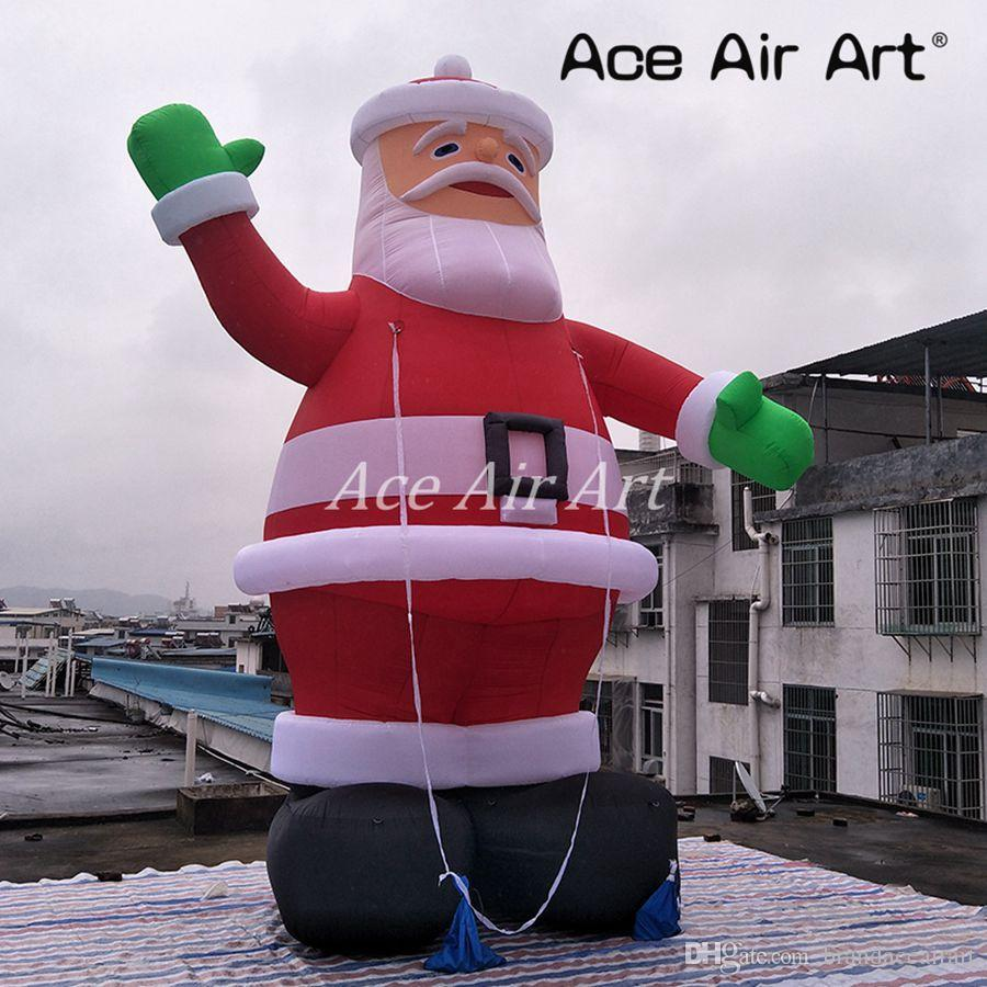 Inflatable Christmas Decorations.2019 Newly Style Outdoor Inflatable Christmas Decoration Giant Inflatable Santa Claus Santa Claus Balloon Model With Green Gloove By Ace Air Art From