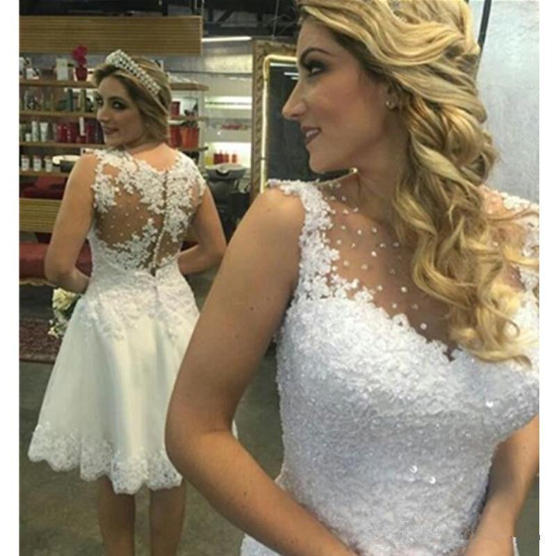 Cordón de la vendimia vestidos de novia cortos ventas calientes personalizado nuevo Scoop escote con cuentas sin mangas con lentejuelas longitud de la rodilla Una línea de vestidos de novia Sheer W070