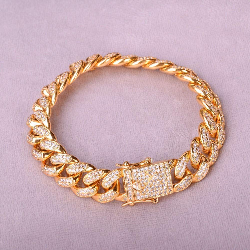 Bracelet Cubain Hommes Hip Hop Bijoux Couleur Or Top Fashion 12mm Ice Out cubique Zircon Curb Cuivre Matériel Cz chaîne