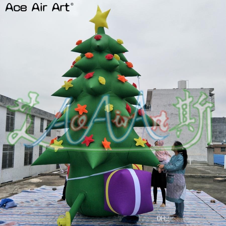 Christmas Tree Balloon.2019 Giant Outdoor Christmas Decoration Inflatable Christmas Tree Model With Balloons Stars Gifts And Free Blower For Sale From Brandaceairart