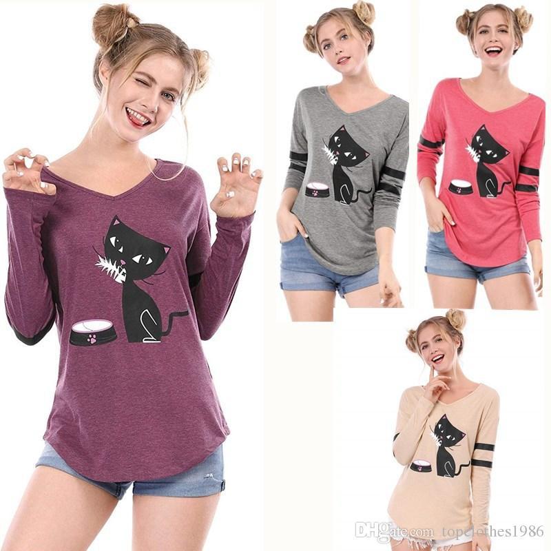 Новые женские плюс размер футболки 4XL 3XL 2XL XL M V-образным вырезом милый кот печати футболка мультфильм с длинным рукавом футболка блузка серый красный фиолетовый абрикос